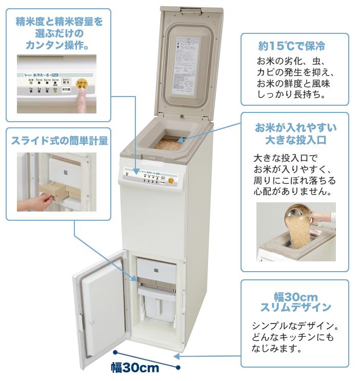 NCP-30W 保冷精米機 米冷-る+mill 特長