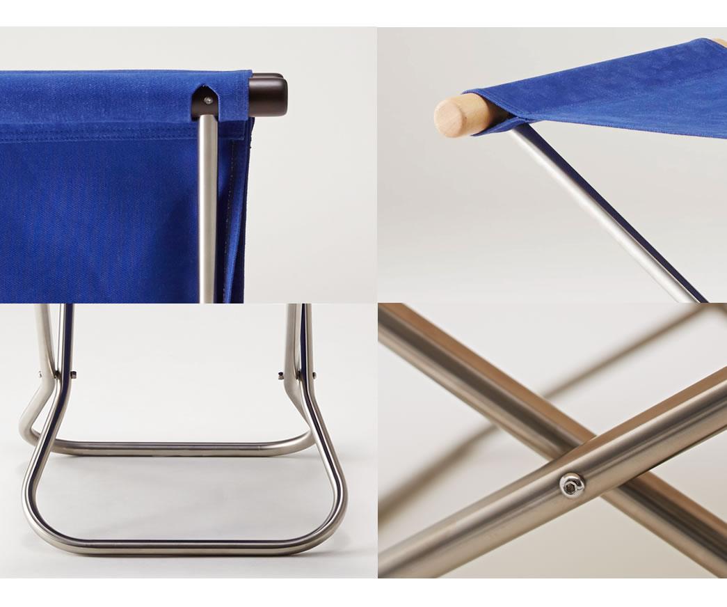 最高品質の帆布と実績のある組み立て工場で生産。体全体と椅子の構造を支えるため、一級帆布といわれる丈夫な「倉敷帆布」を使用。自然素材なので静電気も起きにくく快適です。肘木やパイプの曲げ加工など、組み立てにおいても長年の実績と信頼のある創業1888(明治21)年の国内工場で生産されています。ます。