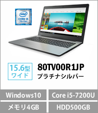Lenovo ideapad 310(Core i5-7200U/メモリ4GB/HDD500GB/DVDスーパーマルチ/Windows10Home 64bit/15.6型液晶) プラチナシルバー