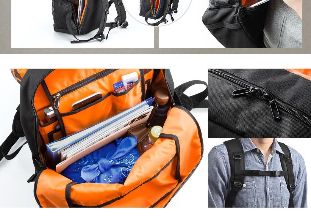 背面ファスナーはメイン収納部に直結。中身をサッと確認したい場合に、バックパックを完全に降ろさず取り出せます。
