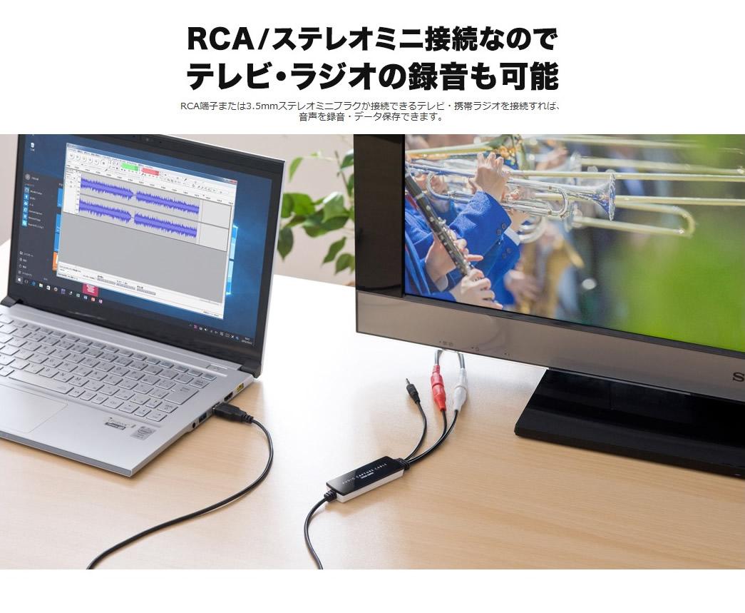 RCA端子または3.5mmステレオミニプラグが接続できるテレビ・携帯ラジオを接続すれば、音声を録音・データ保存できます。