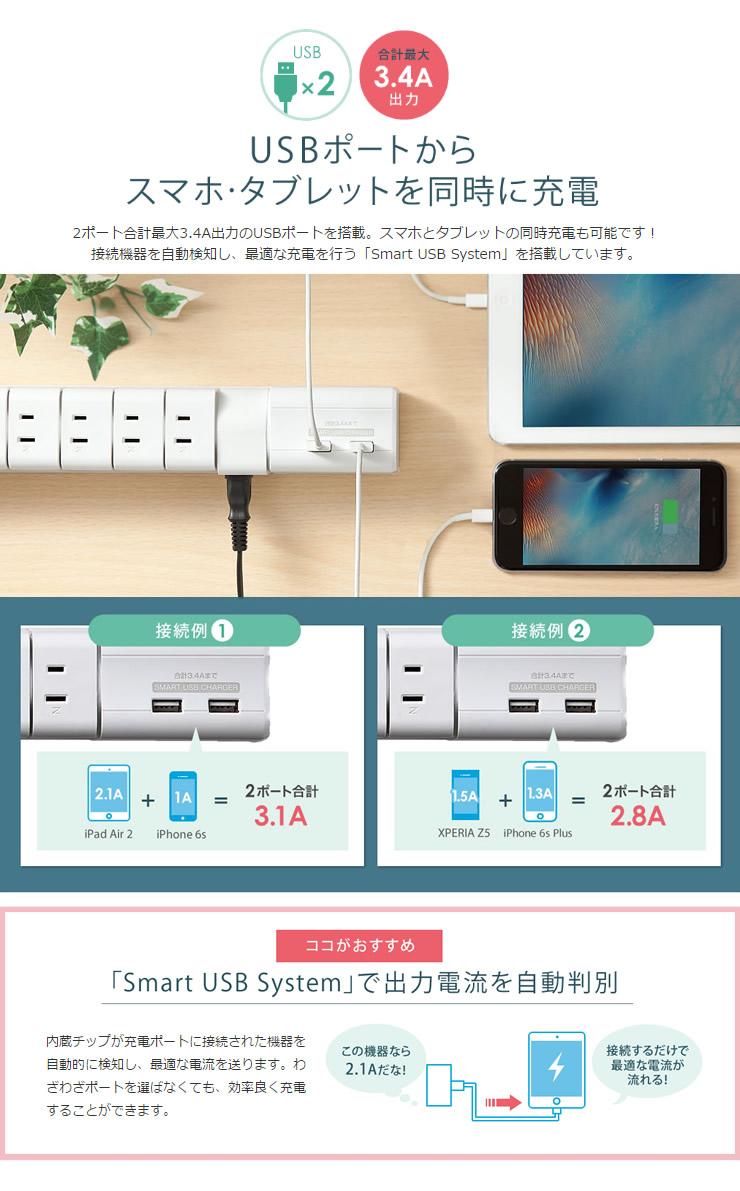 USBポートからスマホ・タブレットを同時に充電