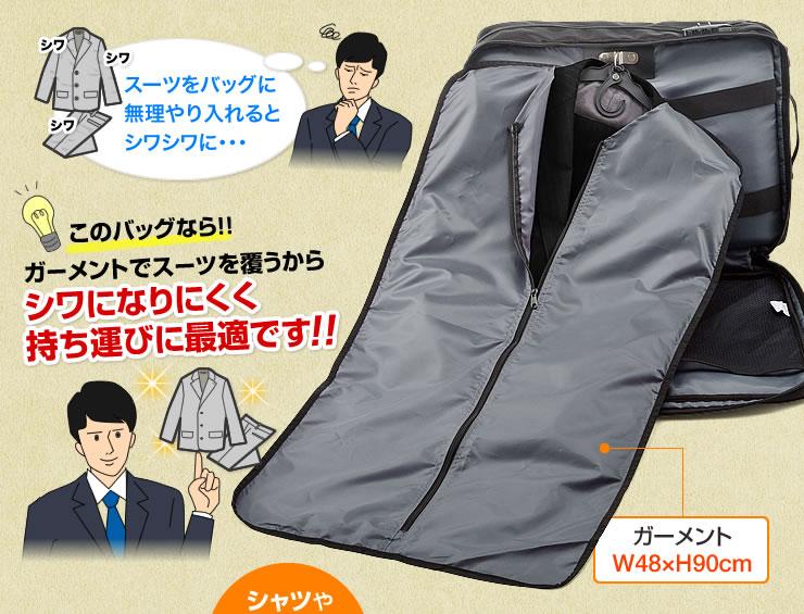 このバッグなら ガーメントでスーツを覆うからシワになりにくく持ち運びに最適です